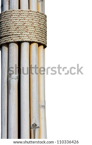 The bundle of dry bamboo isolated on white background.
