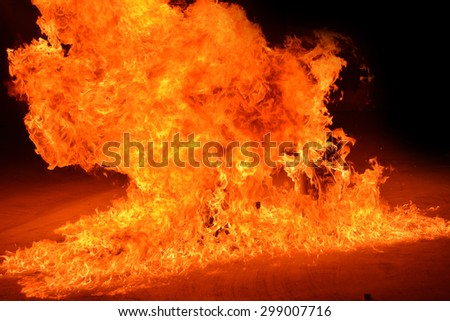 The burning gas tank. Show after Firefighters training, Rehearse of firefighters from cooking.
