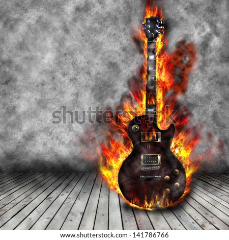 The burning guitar in the old room