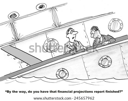 The business boss is asking for financial projections when it is obvious the company is losing money. - stock photo