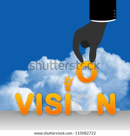 The Business Concept, The Hand With Vision in Blue Sky Background - stock photo