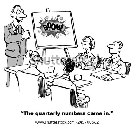 The business leader is excited and happy that the quarterly numbers beat forecast (BOOM). - stock photo