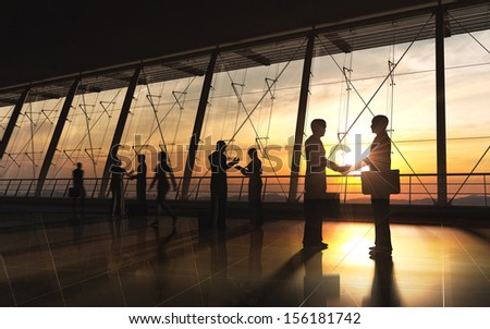 The Business shake hand and meeting silhouettes rendered with computer  graphic. - stock photo