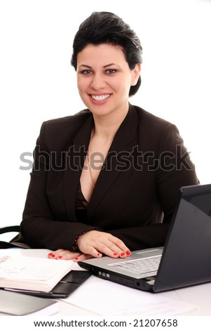the Business woman behind work at office - stock photo