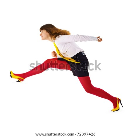 The business woman speeds up somewhere hurrying up isolated on white background - stock photo