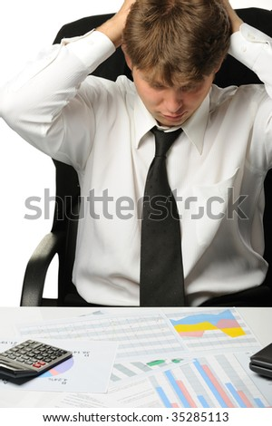 The businessman -  bankrupt. Young the man in a depression - stock photo