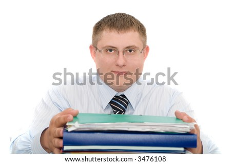 The businessman holding in hands documents. Isolation on white - stock photo
