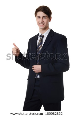 The businessman in a business suit isolated