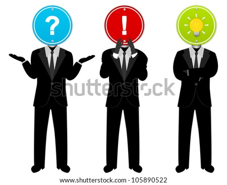 The 3 Businessman in Suit With Road Sign Head and in Any Action Isolated on White Background - stock photo