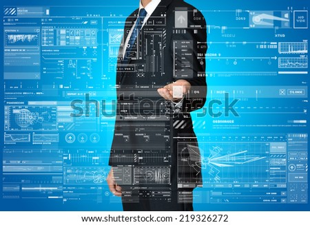 the businessman is presenting the business graphs and diagrams  - stock photo