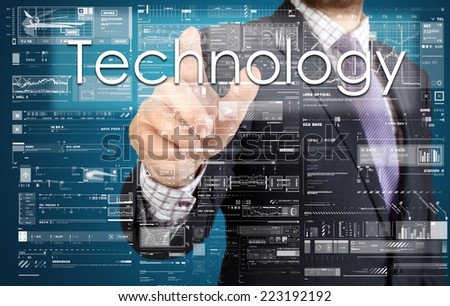 the businessman is pressing the button on the touch screen: Technology , business concept describing the modern business - stock photo