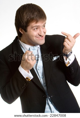 The businessman is threatening fist - stock photo