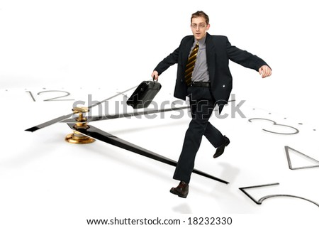 The businessman jumps over time - stock photo