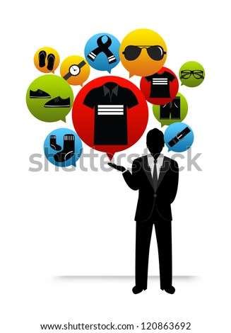 The Businessman Present Online Shopping Concept by Group of Men Fashion Icon Isolated on White Background - stock photo