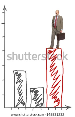 The businessman stands on the red diagram, representing business growth - stock photo