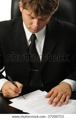 The businessman the signing contract - stock photo