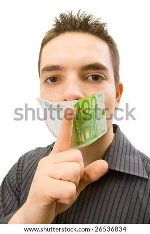 the businessman which mouth is gagged with money (isolated in white background) - stock photo