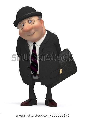 the businessman with a portfolio goes to work/3d business gentleman - stock photo