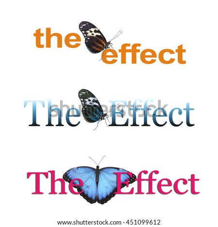The Butterfly Effect x 3 - three different banners each with THE EFFECT and a butterfly between the two words, one orange, one blue and one pink isolated on a white background - stock photo