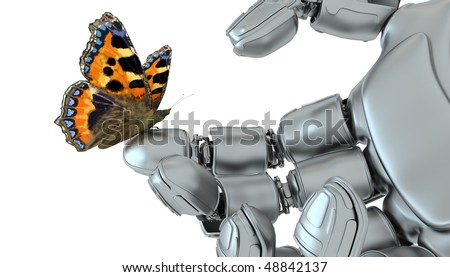 The butterfly on a hand of the robot against a grass of the blue sky - stock photo