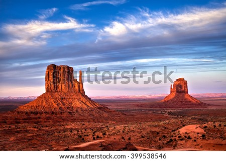 The buttes of Monument Valley. This land is iconic of the American West and has been portrayed in numerous movies through the decades. The shadow of west Mitten falls on the east Mitten twice a year.