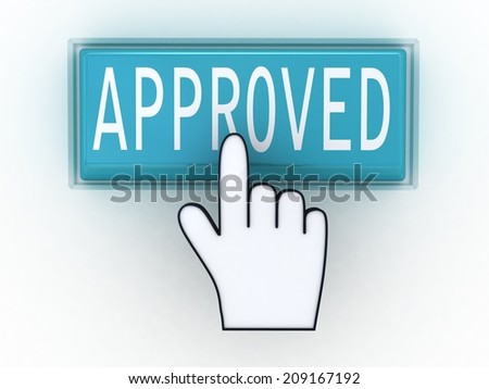 The button approved with a computer hand - stock photo