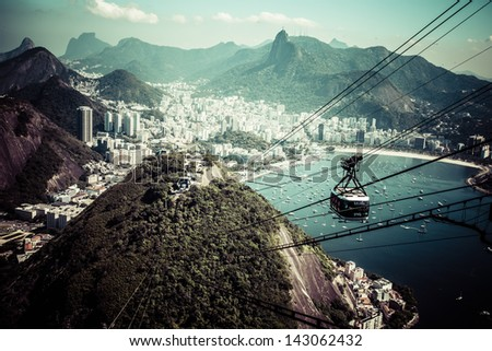 The cable car to Sugar Loaf in Rio de Janeiro - stock photo