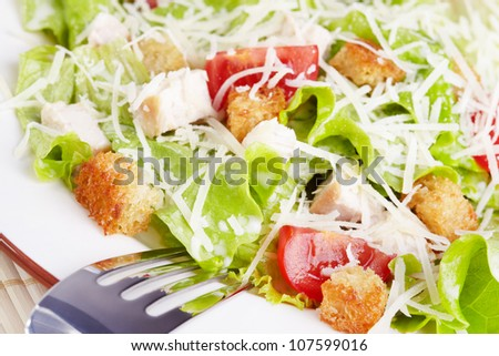The Caesar salad with chicken and tomatoes - stock photo