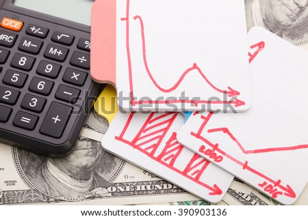 The calculator and the financial Graphs. A workplace of the businessman