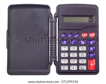 The calculator small, folding, on the white isolated background