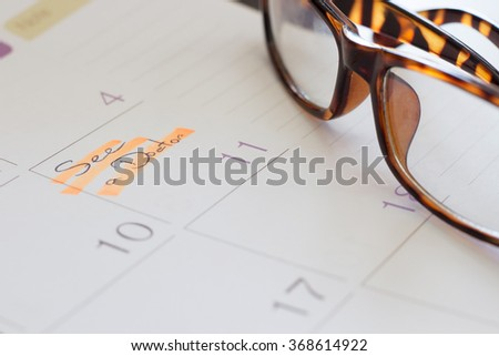 The calendar and time planner to see a doctor