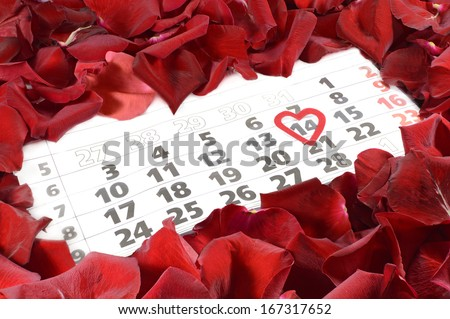 The calendar date of the 14th February, St Valentine's day