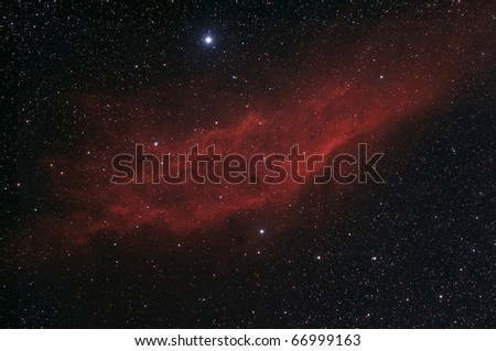 The California Nebula,NGC 1499, A Bright Nebula in Perseus - stock photo