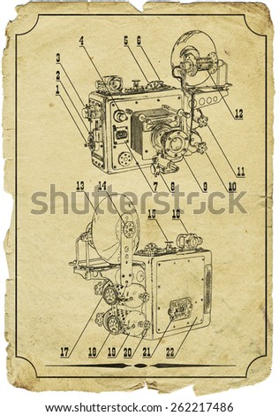 The camera. The sketch . - stock photo