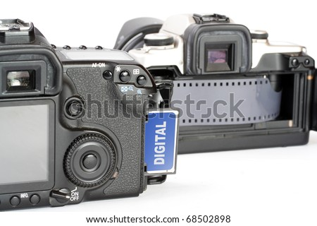 The Cameras. Picture of evolution in photographic technology. - stock photo