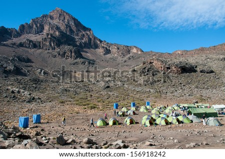 The camp site below Mawenzi, Hans Meyer Peak, on the way to Kilimanjoro - stock photo