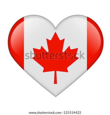 The Canadian flag in the form of a glossy heart - stock photo