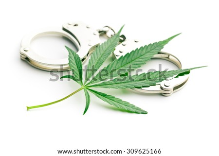 the cannabis leaf and handcuffs - stock photo