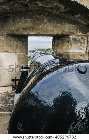 The cannon in the castle of Edinburgh, Great Britain - stock photo