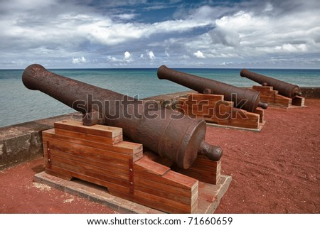 The cannons of the Barachois Reunion Island - stock photo