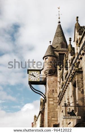 The Canongate Tolbooth's Clock, Royal Mile, Edinburgh, Scotland, UK - stock photo