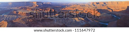 The canyonlands on the Colorado River seen from an Overlook in the early morning in Dead Horse Point State Park, Utah - stock photo