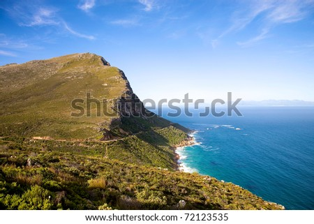 The Cape of Good Hope, adjacent to Cape Point, South Africa. - stock photo