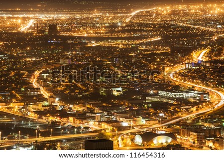 The Cape Town nights lights in the early morning. - stock photo