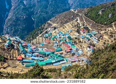 The capital of the sherpas - Namche Bazar, Nepal, Himalayas - stock photo