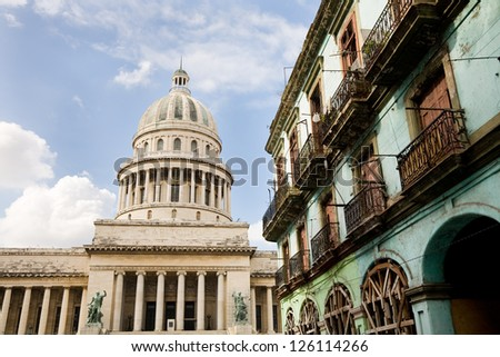The capitol and colonial house in Havana in Cuba