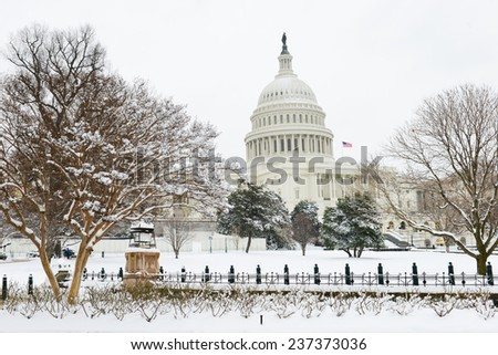 The Capitol in snow - Washington DC, United States of America  - stock photo