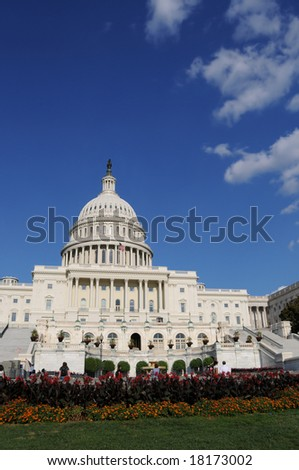 The Capitol in Washington DC is the building where the United States Congress meets - stock photo