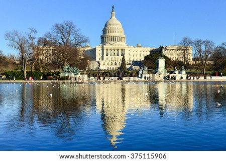 The Capitol in winter - Washington DC USA - stock photo