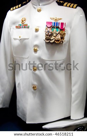 The captain's uniform on display - stock photo